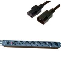 "Блок силовых розеток в стойку 19"" NR-PDU8-50U, 8 розеток, 16А, выключатель, шнур 5м, вилка C14"